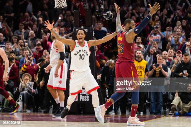 DeMar DeRozan of the Toronto Raptors reacts after missing a last second shot over LeBron James of the Cleveland Cavaliers during the second half at...