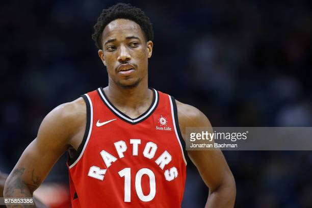 DeMar DeRozan of the Toronto Raptors reacts during the first half of a game against the New Orleans Pelicans at the Smoothie King Center on November...