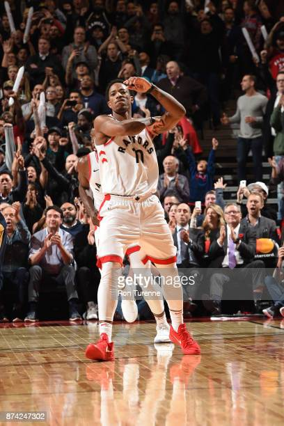 DeMar DeRozan of the Toronto Raptors reacts during the game against the New Orleans Pelicans on November 9 2017 at the Air Canada Centre in Toronto...