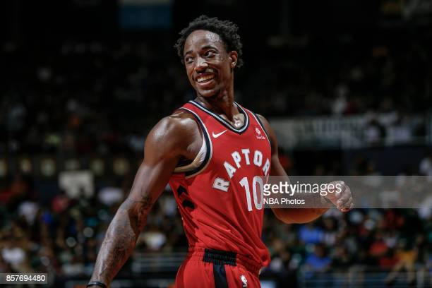 DeMar DeRozan of the Toronto Raptors reacts during the preseason game against the LA Clippers on October 4 2017 at the Stan Sheriff Center in...