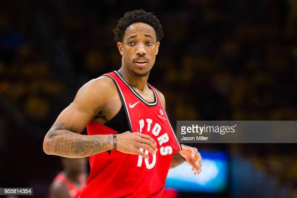 DeMar DeRozan of the Toronto Raptors reacts during the second half of Game 4 of the second round of the Eastern Conference playoffs against the...