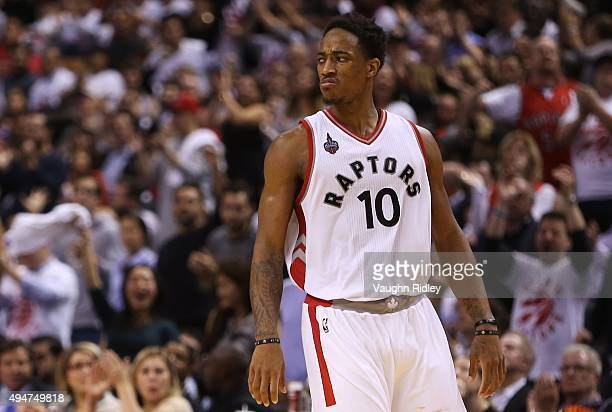 DeMar DeRozan of the Toronto Raptors reacts to a call by the referee during the NBA season opener against the Indiana Pacers at Air Canada Centre on...