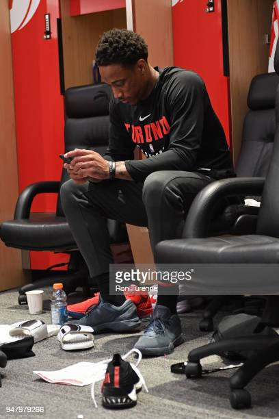 DeMar DeRozan of the Toronto Raptors seen in the locker room before the game against the Washington Wizards in Game One of Round One of the 2018 NBA...