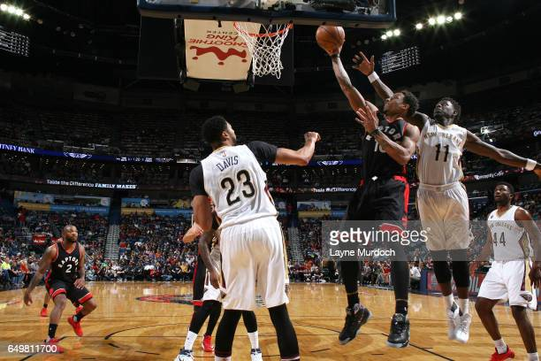 DeMar DeRozan of the Toronto Raptors shoots a lay up during the game against the New Orleans Pelicans on March 8 2017 at the Smoothie King Center in...