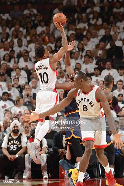 DeMar DeRozan of the Toronto Raptors shoots against the Cleveland Cavaliers during Game Four of the Eastern Conference Finals during the 2016 NBA...