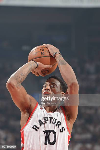 DeMar DeRozan of the Toronto Raptors shoots against the Miami Heat during Game One of the Eastern Conference Semifinals during the 2016 NBA Playoffs...