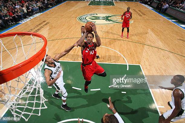 DeMar DeRozan of the Toronto Raptors shoots against the Milwaukee Bucks during the game on December 26 2015 at BMO Harris Bradley Center in Milwaukee...