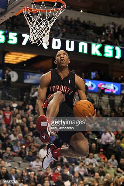 DeMar DeRozan of the Toronto Raptors shoots during the Slam Dunk Challenge held at halftime during the TMobile Rookie Challenge Youth Jam part of...