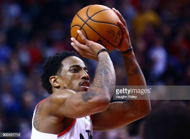 DeMar DeRozan of the Toronto Raptors shoots his 52nd point of the night setting a Toronto Raptors record for most points in a game late in the second...
