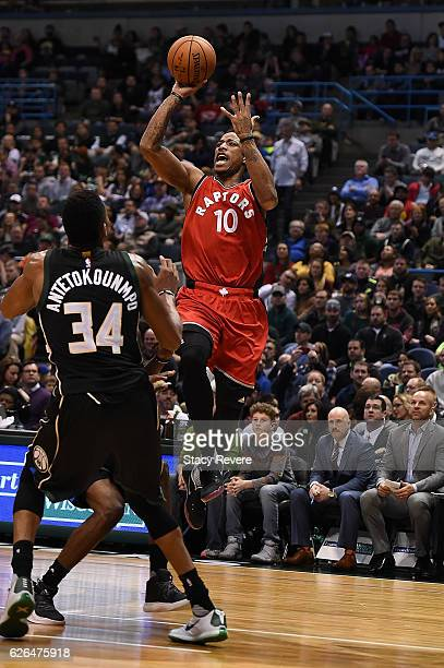 DeMar DeRozan of the Toronto Raptors shoots over Giannis Antetokounmpo of the Milwaukee Bucks during a game at the BMO Harris Bradley Center on...