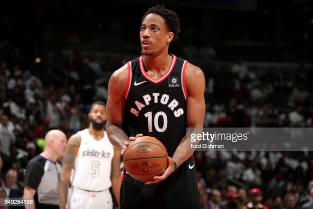 DeMar DeRozan of the Toronto Raptors shoots the ball against the Washington Wizards in Game Three of Round One of the 2018 NBA Playoffs on April 20...