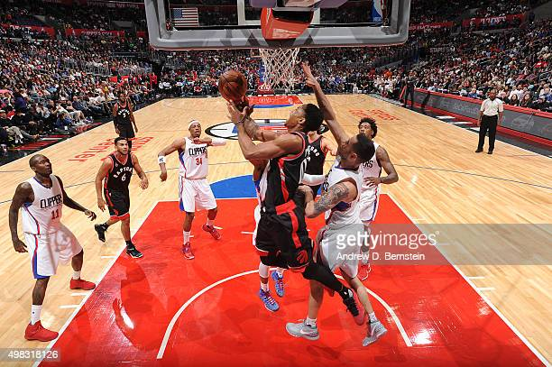 DeMar DeRozan of the Toronto Raptors shoots the ball against the Los Angeles Clippers on November 22 2015 at STAPLES Center in Los Angeles California...