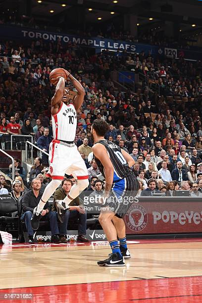 DeMar DeRozan of the Toronto Raptors shoots the ball against the Orlando Magic on March 20 2016 at the Air Canada Centre in Toronto Ontario Canada...