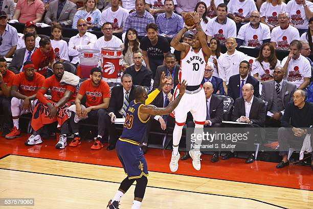 DeMar DeRozan of the Toronto Raptors shoots the ball against the Cleveland Cavaliers during Game Six of the NBA Eastern Conference Finals at Air...