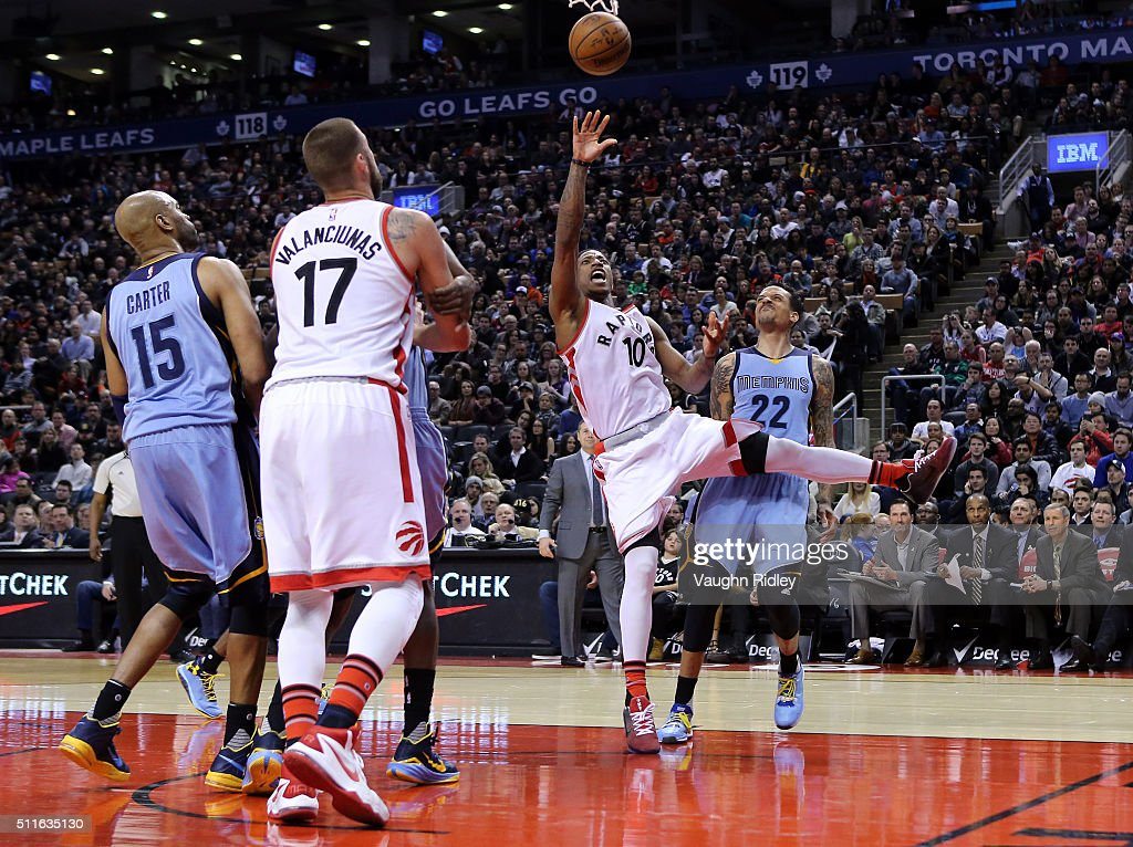 DeMar DeRozan #10 of the Toronto Raptors shoots the ball as Matt Barnes #22 of the Memphis Grizzlies defends during the second half of an NBA game at the Air Canada Centre on February 21, 2016 in Toronto, Ontario, Canada.