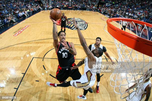 DeMar DeRozan of the Toronto Raptors shoots the ball during the game against the New Orleans Pelicans on March 8 2017 at the Smoothie King Center in...