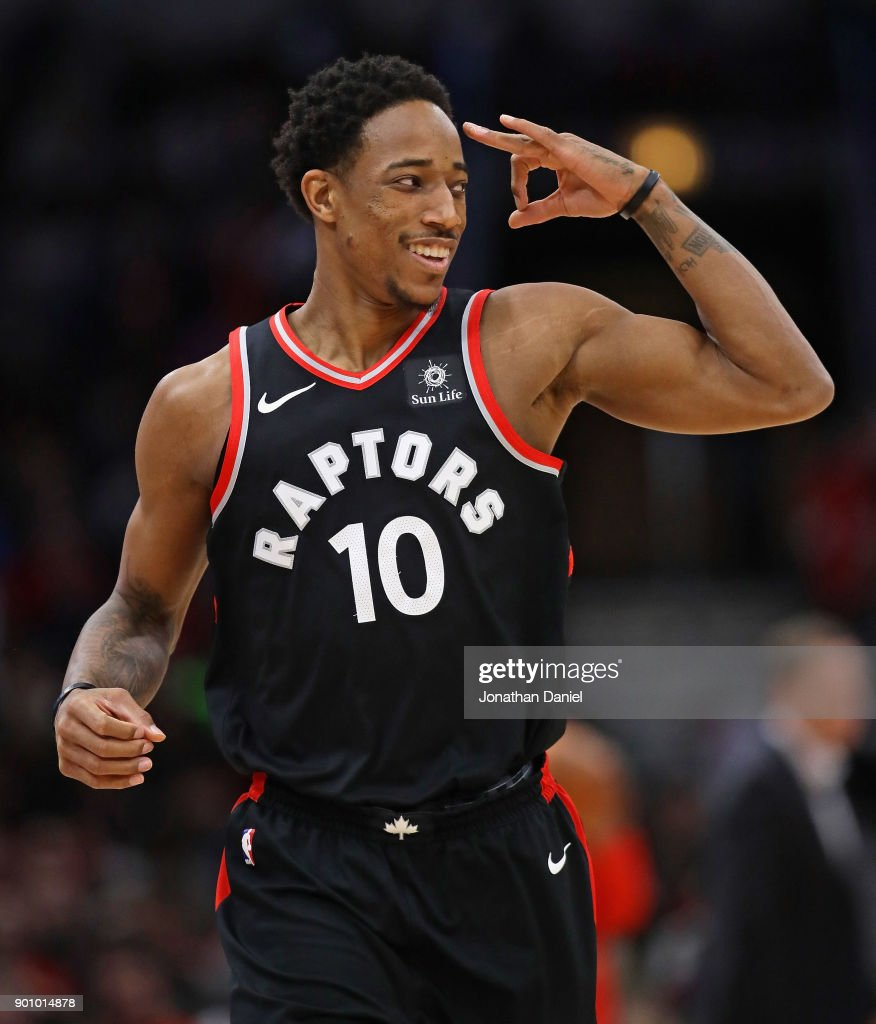 DeMar DeRozan #10 of the Toronto Raptors signals to teammates after hitting a three point shot on his way to a game-high 35 points against the Chicago Bulls at the United Center on January 3, 2018 in Chicago, Illinois. The Raptors defeated the Bulls 124-115.