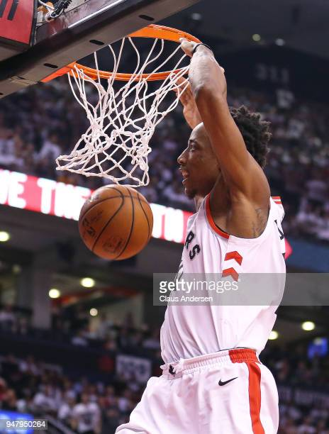 DeMar DeRozan of the Toronto Raptors slams a basket against the Washington Wizards in Game Two of the Eastern Conference First Round in the 2018 NBA...