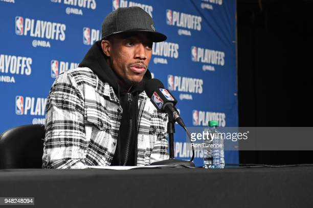 DeMar DeRozan of the Toronto Raptors speaks to thge media after the game against the Washington Wizards in Game Two of Round One of the 2018 NBA...