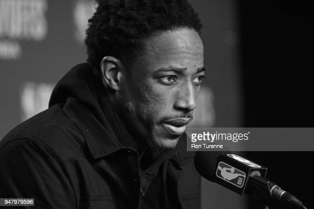 DeMar DeRozan of the Toronto Raptors speaks with media after the game against the Washington Wizards in Game One of Round One of the 2018 NBA...
