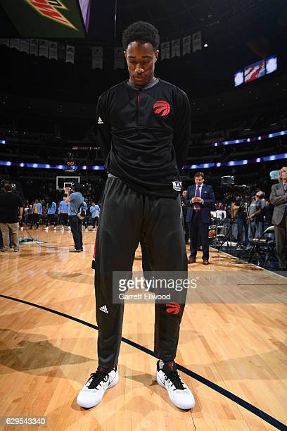 DeMar DeRozan of the Toronto Raptors stand for the National Anthem before a game against the Denver Nuggets on November 18 2016 at the Pepsi Center...