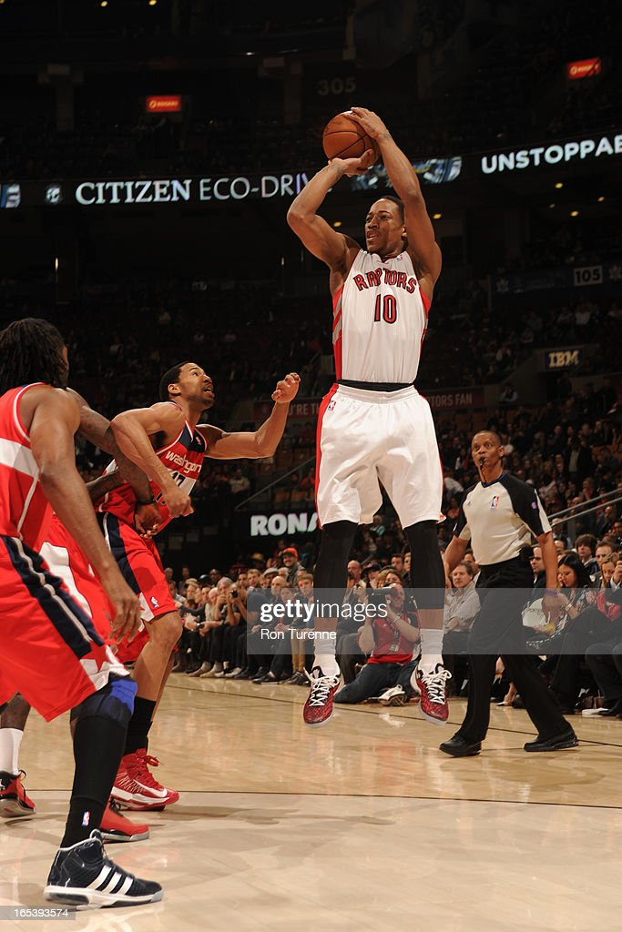 DeMar DeRozan #10 of the Toronto Raptors takes a jump shot against the Washington Wizards during the game on April 3, 2013 at the Air Canada Centre in Toronto, Ontario, Canada.