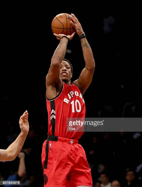 DeMar DeRozan of the Toronto Raptors takes a shot in the second half against the Brooklyn Nets at the Barclays Center on January 17 2017 in the...
