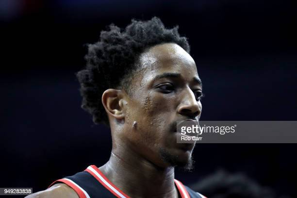 DeMar DeRozan of the Toronto Raptors walks off the court during the first half against the Washington Wizards during Game Three of Round One of the...