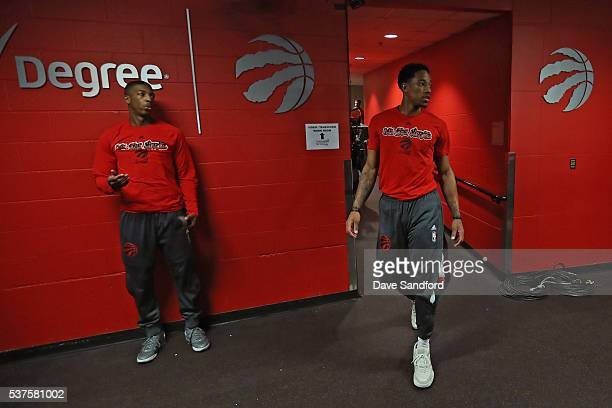 DeMar DeRozan of the Toronto Raptors walks to the court before Game Six of the NBA Eastern Conference Finals against the Cleveland Cavaliers at Air...