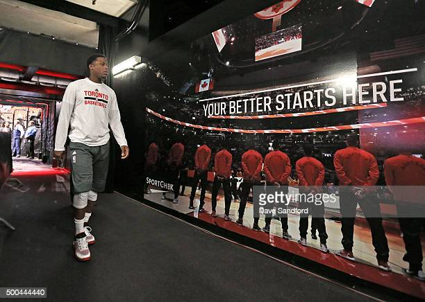 DeMar DeRozan of the Toronto Raptors walks to the court before the game against the Golden State Warriors on December 5 2015 at Air Canada Centre in...