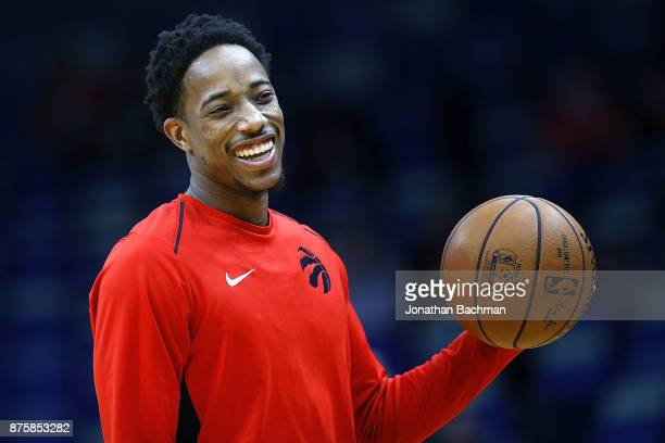 DeMar DeRozan of the Toronto Raptors warms up before a game against the New Orleans Pelicans at the Smoothie King Center on November 15 2017 in New...
