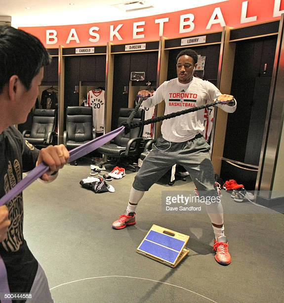 DeMar DeRozan of the Toronto Raptors warms up before the game against the Golden State Warriors on December 5 2015 at Air Canada Centre in Toronto...