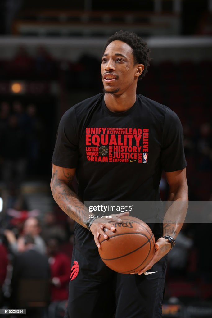DeMar DeRozan #10 of the Toronto Raptors warms up before the game against the Chicago Bulls on February 14, 2018 at the United Center in Chicago, Illinois.