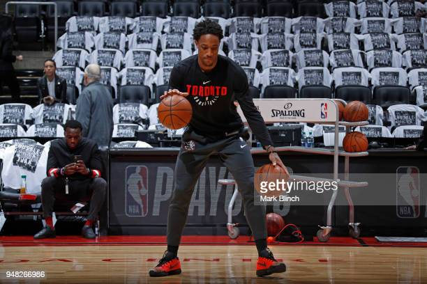 DeMar DeRozan of the Toronto Raptors warms up before the game against the Washington Wizards in Game Two of Round One of the 2018 NBA Playoffs on...