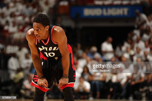 DeMar DeRozan of the Toronto Raptorsis seen during the game against the Toronto Raptors in Game Four of the Eastern Conference Semifinals at...