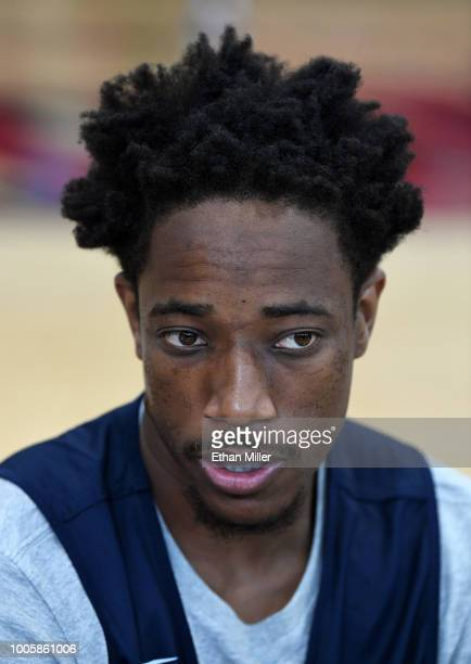 DeMar DeRozan of the United States is interviewed after a practice session at the 2018 USA Basketball Men's National Team minicamp at the Mendenhall...