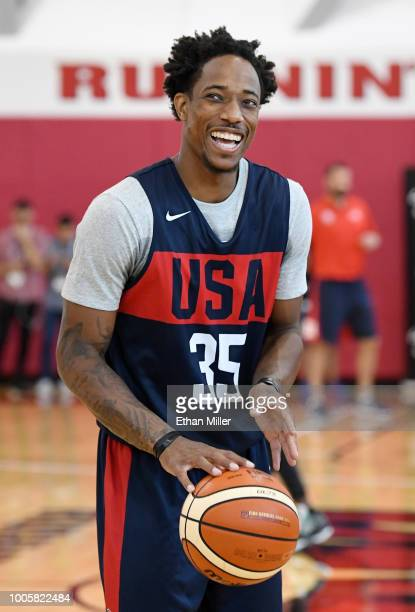 DeMar DeRozan of the United States laughs during a practice session at the 2018 USA Basketball Men's National Team minicamp at the Mendenhall Center...