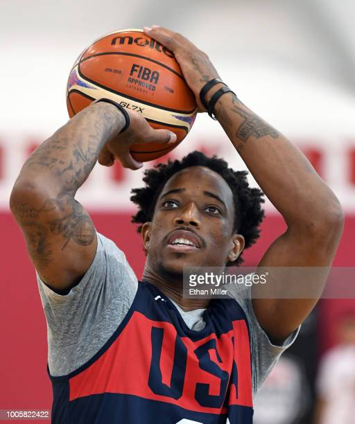 DeMar DeRozan of the United States shoots during a practice session at the 2018 USA Basketball Men's National Team minicamp at the Mendenhall Center...