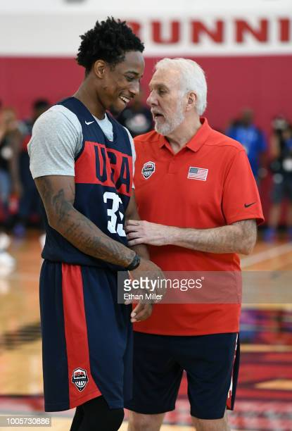 DeMar DeRozan of the United States talks with head coach Gregg Popovich during a practice session at the 2018 USA Basketball Men's National Team...