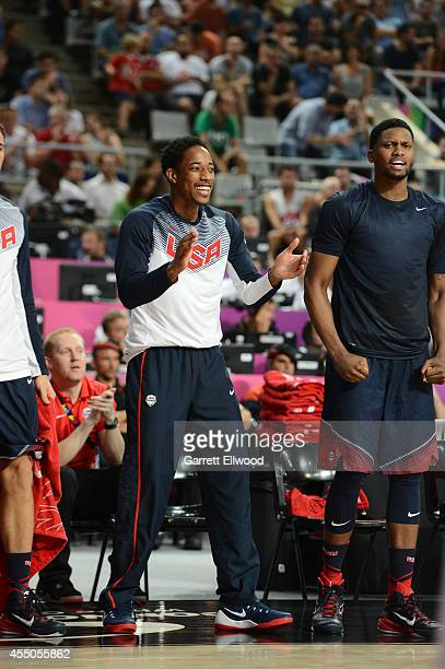 DeMar DeRozan of the USA Basketball Men's National Team cheers against the Slovenia National Team during the 2014 FIBA World Cup quarterfinals at...