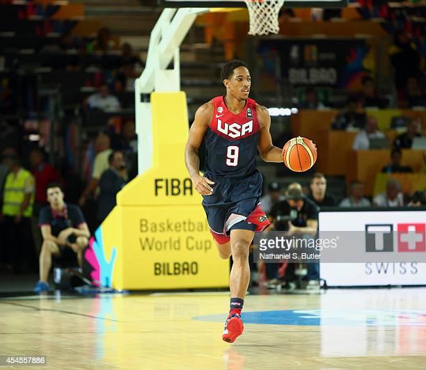 DeMar DeRozan of the USA Basketball Men's National Team dribbles the ball during a game against the Dominican Republic Basketball Men's National Team...