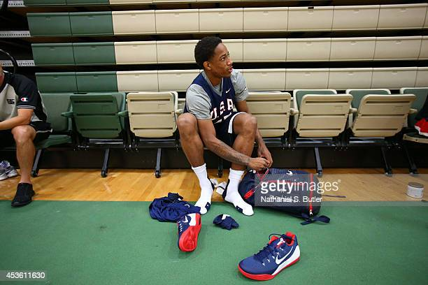DeMar DeRozan of the USA Basketball Men's National Team gets ready for practice at the Quest MultiSport Facility on August 14 2014 in Chicago...