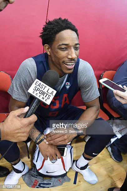DeMar DeRozan of the USA Basketball Men's National Team speaks to the media following a practice on July 18 2016 at Mendenhall Center on the...