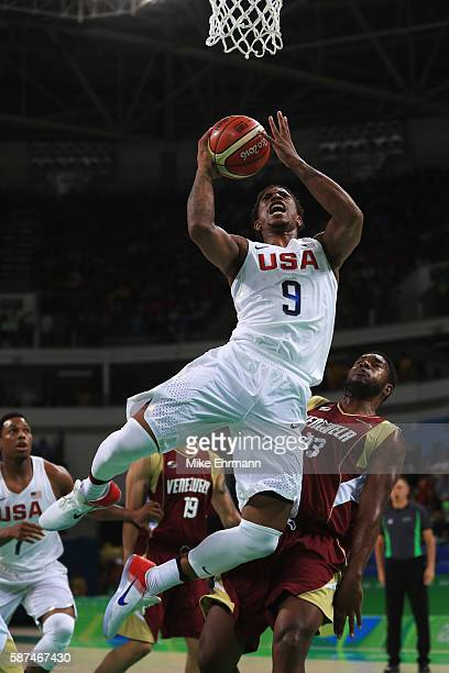 Demar DeRozan of United States goes the basket against Nestor Colmenares of Venezuela during the Men's Priliminary Round between the United States...