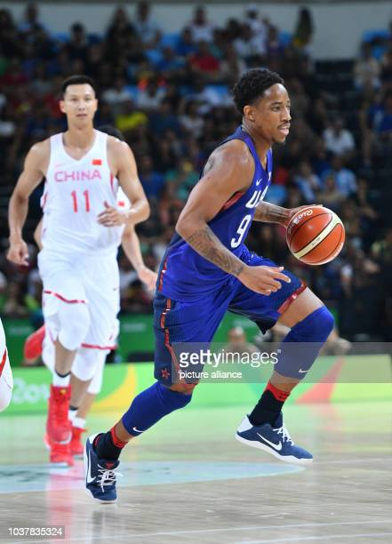 Demar DeRozan of USA in action during the Basketball Men's Preliminary Round Group A match of the Rio 2016 Olympic Games at the Carioca Arena 1 Rio...