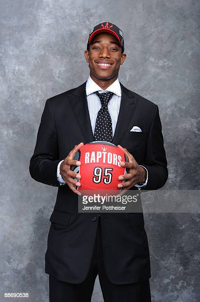 Demar DeRozan selected number nine overall by the Toronto Raptors poses for a portrait during the 2009 NBA Draft on June 25 2009 at the WaMu Theatre...