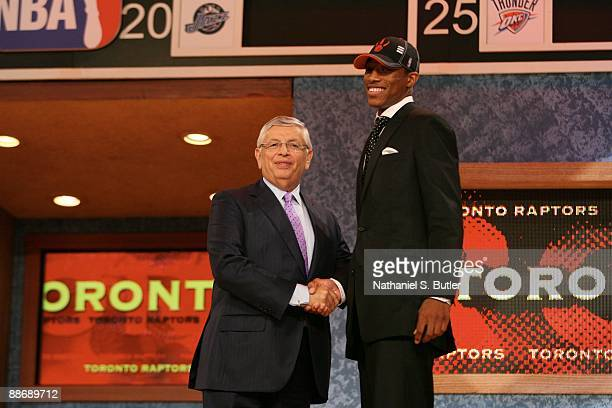 DeMar DeRozan shakes hands with NBA Commissioner David Stern after being selected ninth by the Toronto Raptors during the 2009 NBA Draft on June 25...