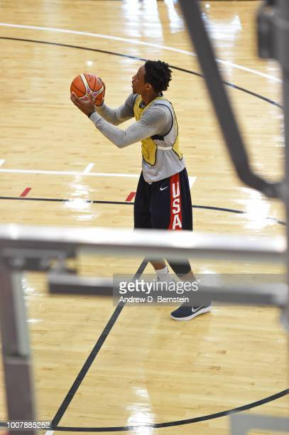 DeMar DeRozan shoots the ball during USAB Minicamp at Mendenhall Center on the University of Nevada Las Vegas campus on July 27 2018 in Las Vegas...