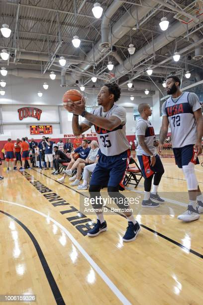 DeMar DeRozan shoots the ball during USAB Minicamp Practice at Mendenhall Center on the University of Nevada Las Vegas campus on July 26 2018 in Las...