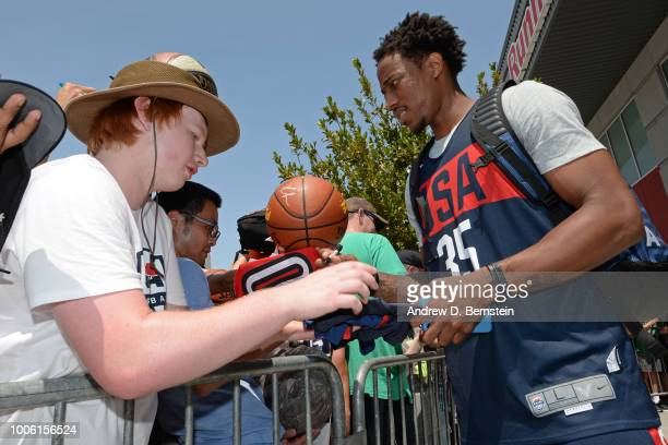 DeMar DeRozan signs autographs after USAB Minicamp Practice at Mendenhall Center on the University of Nevada Las Vegas campus on July 26 2018 in Las...